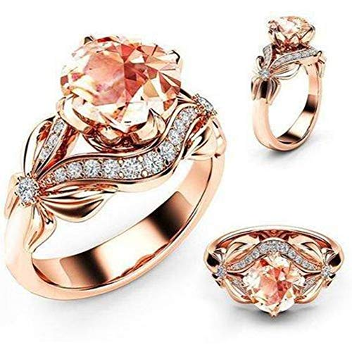 CTDMMJ Circonita con Incrustaciones de Mariposa Hueca Anillos de Bodas de Oro Rosa para Mujer Anillo de Compromiso de Lazo de Diamantes de imitación para joyería Femenina