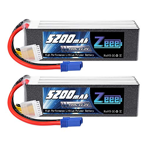 Zeee 22.2V 100C 5200mAh 6S Lipo Battery with EC5 Connector RC Battery for RC Car Truck Airplane Helicopter Quadcopter Boat (2 Pack)