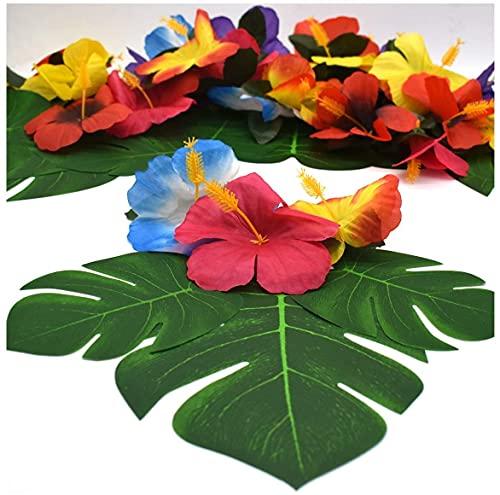 Decoración de Fiesta Tropical,24 Hojas de Palmera Tropical+24 Flores Artificiales de 6 Pulgadas Hojas Monstera con Tallo Flores de Hibisco Hawaiano para Decoraciones de Mesa Tropical Fiestas Playa