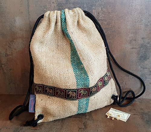 Rucksack aus Kaffeesack Indonesien.Jutebeutel mit Elefanten