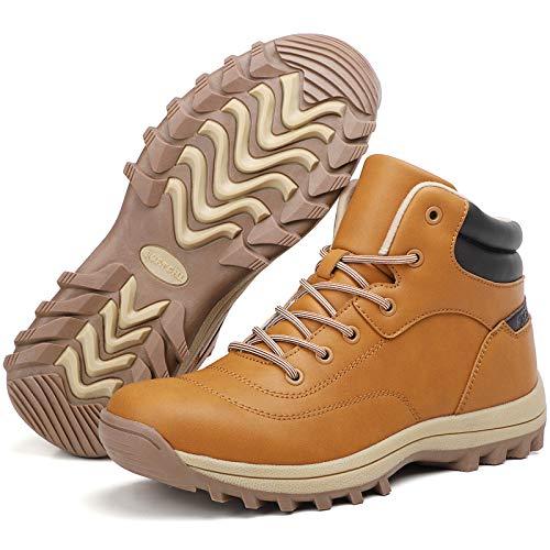 Sixspace Damen Herren Winterschuhe Wasserdicht Winterstiefel Trekking Schneestiefel Wanderschuhe Outdoor rutschfest Schneeschuhe Unisex Boots,(Braun, 43 EU
