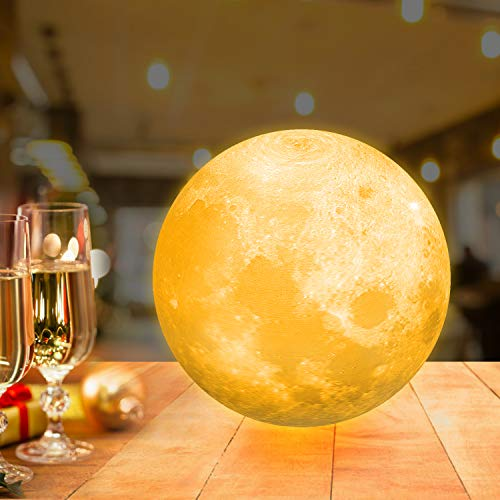 15cm Mondlampe mit Fernbedienung,OxyLED Farbige Dekoleuchte 3D Mond Kunst LED RGB Mondlicht tragbares Nachtlicht mit Dimmbar,16 Lichtfarben wechsel,Weihnachten,Geburtstag