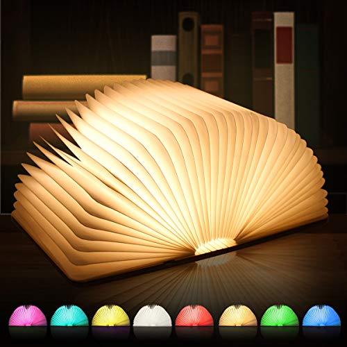 LED Buchlampe, 8 Farbmodi Buch lampe, Hölzerne faltende Buch-Lampe, USB wiederaufladbar Tischleuchte, Nachttischlampe, dekorative Lampen, 360°Faltbar - Ideal für Geschenk