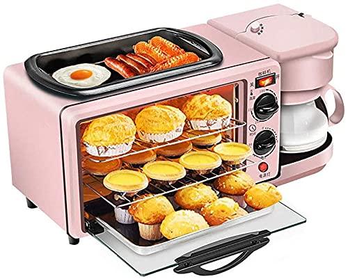 3 en 1 horno,máquina eléctrica Desayuno, horno electrico, hornos de cocina sobremesa, Con tostadoras Y Cafetera, Plancha Antiadherente, De Gran Capacidad, horno sobremesa Portátil De Tamaño Familiar
