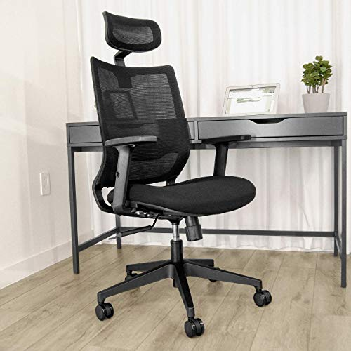 NOXU Ergonomic High Back Office Chair - Big and Tall Comfortable Reclining Desk Chair with Lumbar Back Support for Home or Office - Autonomous Chair with Headrest - Black Mesh