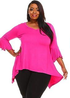 WearOrGoBare Womens Fuschia Pink Plus Size Bell Sleeves Tunic Top