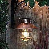 Outdoor Solar Hanging Lanterns Vintage Garden Solar Light with Warm LED Bulbs for Garden Yard Patio Pathway Tree Decoration, Solar powered Landscape Lighting, Copper