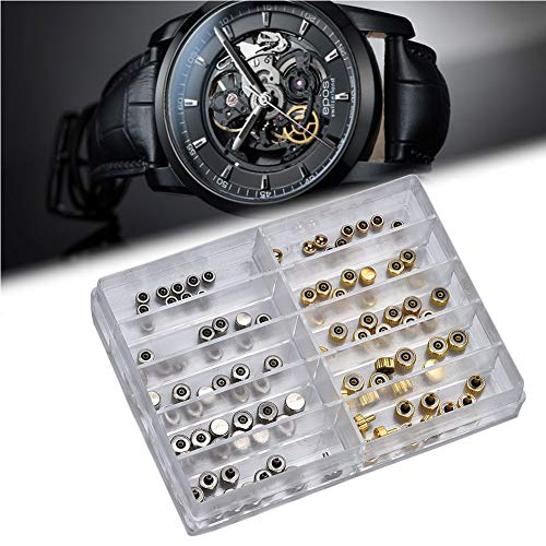 Salmue 100 unids/Caja Reloj Corona Repuestos, Plata Bronce Cobre Surtido Reloj Corona Piezas Accesorios de reemplazo Reloj Kit de Herramienta de reparación