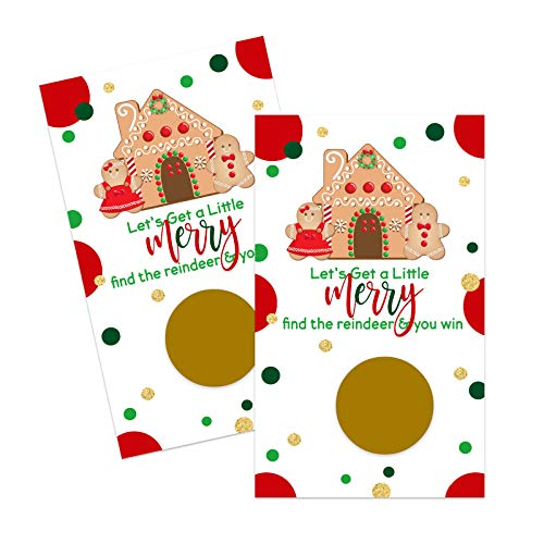 Gingerbread Scratch Off Game Cards (30 Pack) Christmas Party Supplies - Holiday Raffle Tickets - Business Prize Drawings - Groups Kids Adult - Festive - Merry Red Green