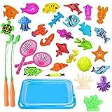 JIM'S STORE Juego de Pesca para Baño 30 Piezas Juguete Magnético de la Pesca con Caña Flotando Peces para Bebé y Niños(Colorful)