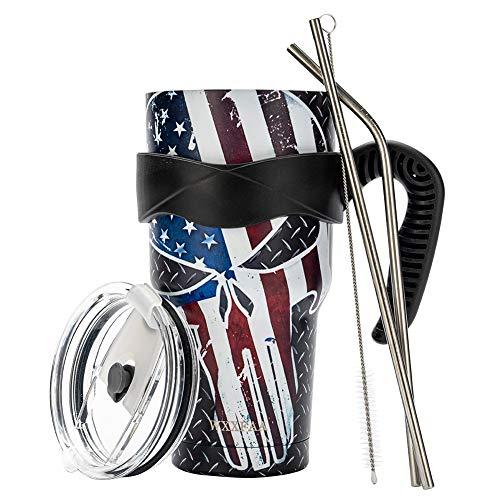 Totenkopf-Tumbler He Nationalflagge & Totenkopf & gekreuzte Knochen, das Logo, & God bless Americas hohe Kapazität, doppelwandig, isolierter Wasserbecher