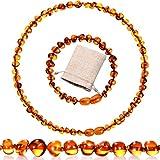 Hicarer Conjunto de 2 Piezas Pulsera Collar de Ámbar Collar de Ámbar Báltico Pulsera de Cuentas de Ámbar para Regalos
