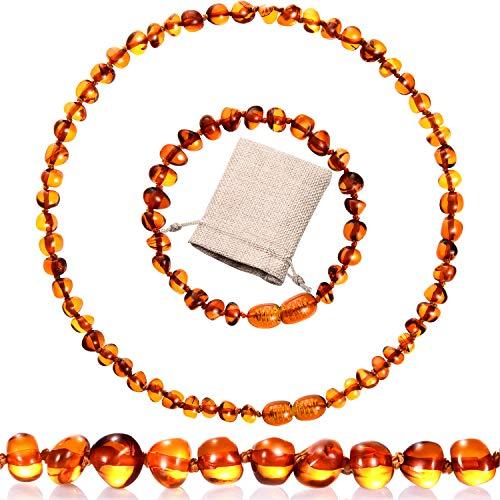 Conjunto de 2 Piezas Pulsera Collar de Ámbar Collar de Ámbar Báltico Pulsera de Cuentas de Ámbar para Regalos