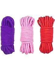 LVE 3 stuks zacht katoenen touw,10 M/33 voet katoenen touw 8 MM multifunctioneel dik katoen gedraaid koord