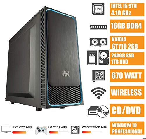 - CeO Theta V6 - PC Desktop Intel I5-9400F 6-Core 9MB Cache 4.10 GHz | 16GB RAM | 240GB SSD |1TB HDD | USB 3.0 | Nvidia GT710 2GB | FULL HD / 4K | Wi-Fi | DVD | WINDOWS 10 PRO