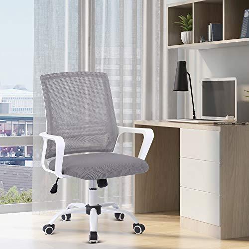 Sedia da ufficio, sedia ergonomica, sedia girevole regolabile in altezza con braccioli a dondolo, sedia per computer, sedia da scrittura per ufficio e home office (Grigio)