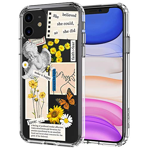 MOSNOVO Case for iPhone 11, Vintage Collage Sunflower Butterfly Slim Clear Case Design with Shockproof TPU Bumper Protective Cover Case for Women Girls