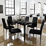 Festnight - Juego de 7 Piezas de Cocina con Mesa y sillas de Comedor, Color Negro.