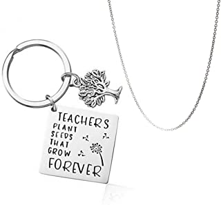 Yellow Chimes Teachers Plant Seeds That Grow Forever Message Keychain Pendant with Chain/Gift for Teacher's/Teachers Day G...