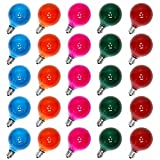 25 Pack Multicolor G40 Christmas Replacement Light Bulbs, UL Listed 5 Watt E12 C7 Candelabra Base Glass Bulbs with Frosted Coating, Easily Screw in Strings Spools Strands