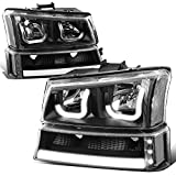 J-Halos Headlight+LED DRL Bar Signal Lamps Compatible with Chevy Avalanche SIlverado 03-07, Left and Right Side, Black/Clear