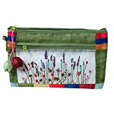 Antique Alive Embroidery Wild Flower Portable Travel Multifunction Faux Ramie Fabric Cosmetic Toiletry Pouch Case Zipper Clutch Bag Makeup Organizer Holder (Green)