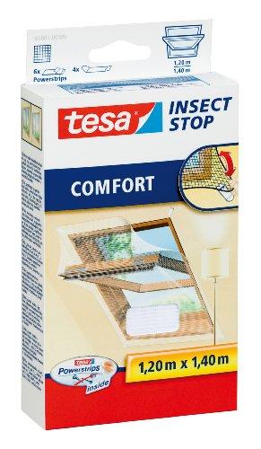 tesa Insect Stop COMFORT Fliegengitter für Dachfenster - Insektenschutz für Fenster - Fliegen Netz selbstklebend ohne Bohren - weiß (leichter sichtschutz), 1,20 m x 1,40 m
