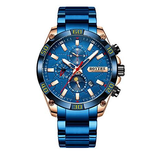 JTTM Hombres Automático Mecánico Reloj Luminoso Negocios Casual Relojes De Pulsera Marca De Lujo Acero Inoxidable Moda Fase Luna Deportes Relojes,Rose Blue