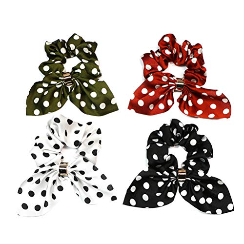 Lurrose Haargummis mit Hasenohren, elastisch, Retro-Stil, für Mädchen (Weiß, Schwarz, Armeegrün, Karamellfarben), 4 Stück
