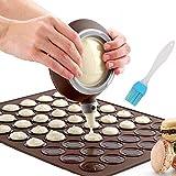 Macaron Molde - 48 Capacidad Macaron Silicone Baking Mat y decorating Pen Icing Tips con 4...