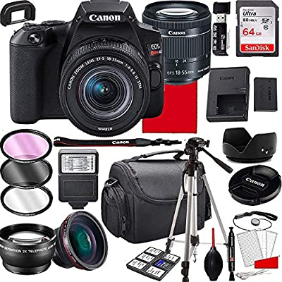 Canon EOS Rebel SL3 DSLR Camera with 18-55mm f/4-5.6 is STM Zoom Lens, 64GB Memory,Case, Tripod and More (28pc Bundle) from Canon intl