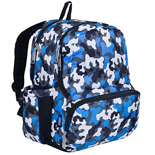 Wildkin Kids 17 Inch Backpack for Boys and Girls, Perfect Size for Middle, Junior, and High School, 600-Denier Polyester Fabric Kids Backpack Measures 17 x 12 x 9 Inches (Blue Camo)