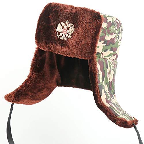 HUOLIMAO Sombreros De Insignia Soviéticos para Hombres Sombrero De Trampero Militar del Ejército Gorro De Orejera De Invierno Ruso Gorro De Nieve De Piel Sintética Térmica