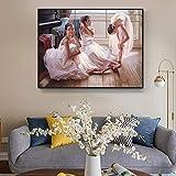 tzxdbh Hohe Qualität Ballerina Ölgemälde Ballett Mädchen Leinwand Malerei Für Shop Dekoration Wohnzimmer Wanddekor Kunst Gemälde