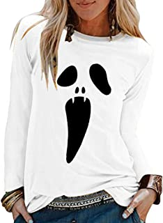 2019 New T-Shirt, Women's Halloween O-Neck Long Sleeve Loose T-Shirt Blouse Casual Long Sleeve Top