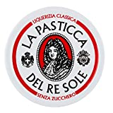 La Pasticca del Re Sole - Espositore per Lattine, Liquirizia Classica, Caramelle Morbide e Gommose, Senza Zucchero - Pacco da 12 Pezzi da 30 gr