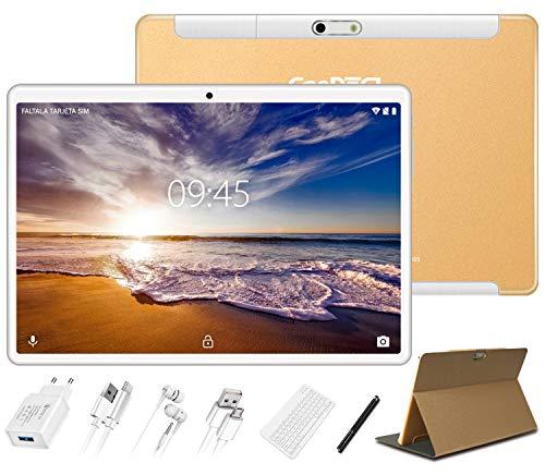 GOODTEL Tablet 10 Pollici Android 10.0 Versione Pro 4 GB RAM + 64 GB ROM, Tablets Android con Doppia Fotocamera(5MP+8MP)/WiFi/Bluetooth 4.0/Doppia SIM/MicroSD, con Tastiera Bluetooth