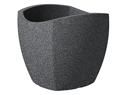 Scheurich Wave Globe Cubo, Pflanzgefäß aus Kunststoff, Schwarz-Granit, 40 cm Durchmesser, 35,5 cm hoch, 31 l Vol.