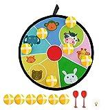 Joycabin Diana infantil con velcro, juego de dardos con diseño de animales y 6 bolas de colores (28 cm)