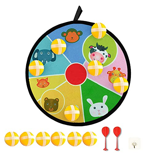 Joycabin Kinder Klett Dartscheibe, Dart Wurf Spiel Scheibe,Kinder Sicher Stoff Dart Brettspiel, Dart Brettspiel mit Tiermotiven und 6 Farbigen Kugeln(28cm)
