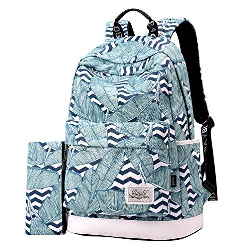 YuanDian Mädchen Segeltuch Rucksäcke Literarische Kunststil Drucken Casual Wasserdicht Schulrucksack Schüler Schulranzen Schultaschen (Kostenlose Bleistifttasche und Notizbuch) Blau