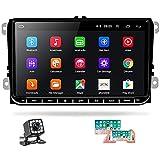 Hikity Radio de Coche Android para VW Golf con GPS WiFi Autoradio Bluetooth Pantalla Tactil de 9 Pulgadas para Passat Polo Touran con FM/Canbus/ SWC/ Mirror-Link/Cámara De Visión Trasera