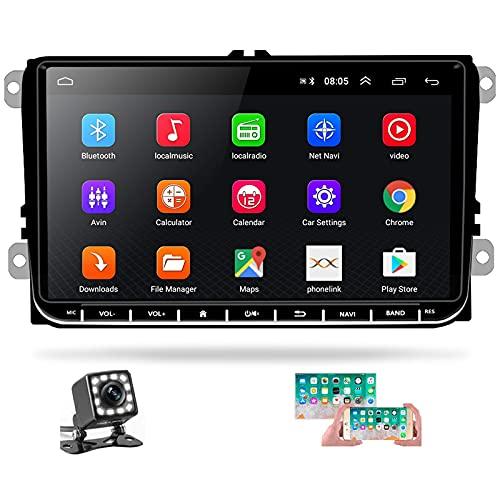 Hikity Radio de Coche Android para VW Golf con GPS WiFi Autoradio Bluetooth Pantalla Tactil de 9 Pulgadas para Passat Polo Touran con FM Canbus  SWC  Mirror-Link Cámara De Visión Trasera