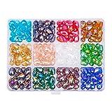PandaHall Elite 240 piezas 12 colores gota galvanoplastia cuentas de vidrio para collar joyería (8 x 10 mm, agujero: 1 mm)