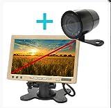 YATEK Set de visión Trasera vehículos Pantalla 7' Color y cámara con Soporte e Infrarrojos, Color Negro