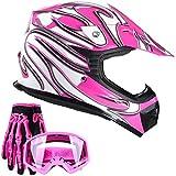 Typhoon Youth Kids Offroad Gear Combo Helmet Gloves Goggles DOT Motocross ATV Dirt Bike MX Motorcycle Pink - Medium