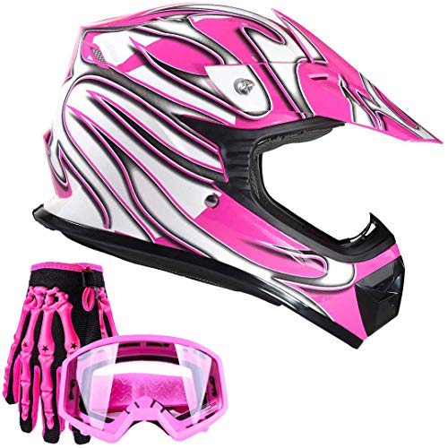 Typhoon Youth Kids Offroad Gear Combo Helmet Gloves Goggles DOT Motocross ATV Dirt Bike MX Motorcycle Pink - XL