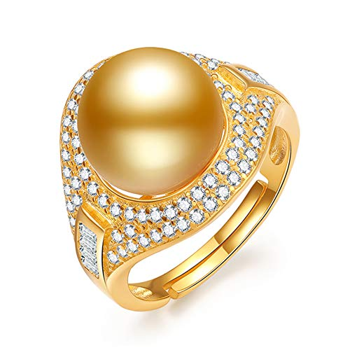 HLMAX Anillo Perla Dorada Natural 10-11Mm Ajustable Plata De Ley 925 con Exquisito Joyero para Mujer, Esposa, Novia, Madre, Hermana