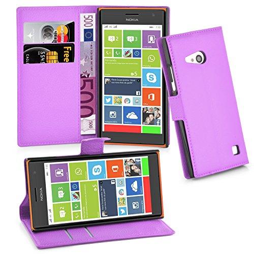 Cadorabo Hülle für Nokia Lumia 730 - Hülle in Mangan VIOLETT – Handyhülle mit Kartenfach & Standfunktion - Case Cover Schutzhülle Etui Tasche Book Klapp Style