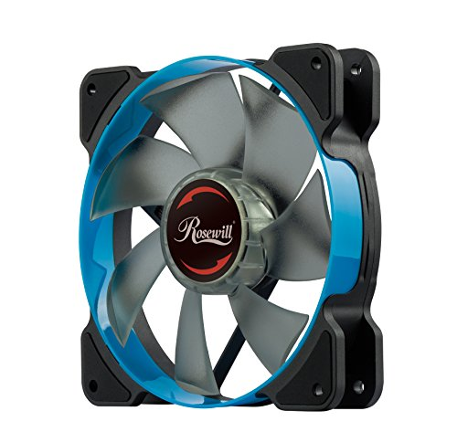 Computer Case Fan120mm with Blue LED and PWM (Pulse Width Modulation) Function, Very Quiet Cooling Fan from Advanced Hydraulic Bearing, Rosewill Model RWCB-1612